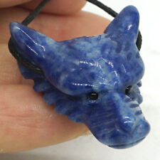 Howling Wolf Head Natural Blue Quartz Pendant Hand Carved Necklace Jewelry 2393