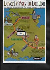 SABENA BELGIAN WORLD AIRLINES 1962 LOVERLY WAY TO LONDON VIA MANCHESTER AD