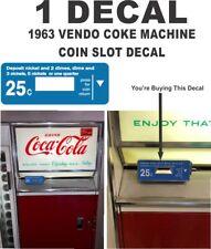 Vintage Coca Cola Coke Soda 1963 Vendo Vending Machine Coin Slot return Decal