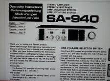 manuale utente amplificatore SA-940 A-40 hifi stereo pioneer carta formato a4
