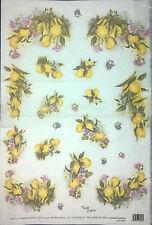 Carta DI RISO PER DECOUPAGE SCRAPBOOKING Limone Fiori Rosa 33x49cm 5024