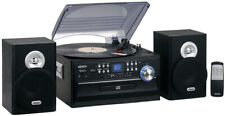 Stereo Turntable Music System 3-Speed LCD Display With CD/Cassette and amp;