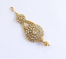 Gold Polki Head Passa Jhumar Jhoomar/Bollywood Crystal Jadau Side Hair Headpiece