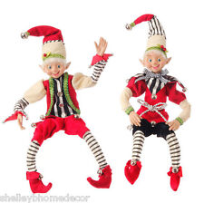 Christmas Elf set of2 Posable decoration 16in RAZ hc 3402800 NEW w black stripes
