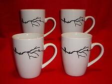 Urban Barn Tea COFFEE MUGS Lot x 4 Black And White Branch With A Bird Design
