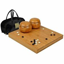 "Bamboo 2"" Go Board w/  Double Convex Yunzi Stones and Bowls Set"