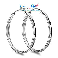18k white gold GF solid sterling silver hoop earrings wedding party gift