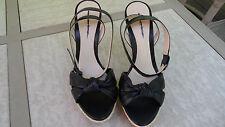 Retail $245 Alexandre Birman Black Leather Ankle Strap Platform Sandals SZ 9.5