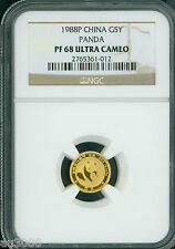 1988-P 5Y 5 YUAN G5Y Chinese PROOF GOLD PANDA 1/20 Oz. NGC PR68 PF68 CHINA