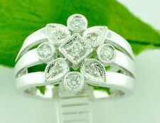 Right Hand Ring 0.39 ct 14k Solid White Gold Ladies Natural Diamond Ring