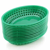 BarBits Green Oval Fast Food Baskets Set of 36 - American Plastic Burger Chips