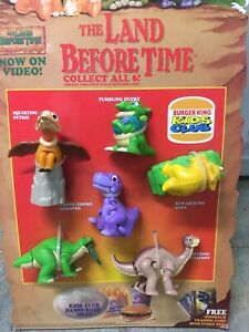 Burger King 1997 The Land Before Time Kids Club Display w COMPLETE set of 6 toys