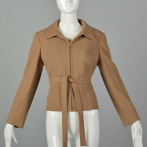 Small 1970s Camel Crepe Jacket Belted Saks Fifth Avenue Autumn 70s Minimalist