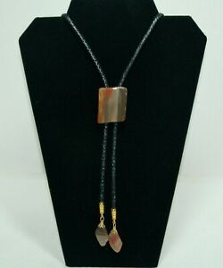 Faux Leather Bolo with Natural Stone