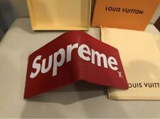 New Men's Supreme Red Card Holder FULL FOLD WALLET *With Box AND DUST CASE*