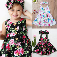 Toddler Kids Baby Girls Floral Dress Princess Party Summer Sleeveless Dress US