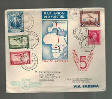 1936 Belgium First Flight Cover to Stanleyville Belgian Congo Sabena Airline