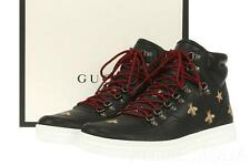 NEW GUCCI BLACK LEATHER GOLD BEE EMBOSSED HIGH TOP SNEAKERS SHOES 7.5 G/US 8.5