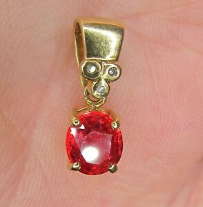 18ct GOLD MEXICAN FIRE OPAL & DIAMOND  PENDANT .............. A33
