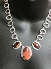Lovely Modern Necklace Oval Links & Glass Faux Tigers Eye Cabochons