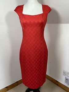 Next Red Shift Dress Size 10 Embossed Circle Pattern Square Neck Cap Sleeve