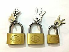 3 Pieces Small Metal Brass Padlock Mini With 3 Lock Keys Size 20-25-35 mm