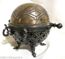 Antique Silver SERVER WARMER~ROLLTOP ~Pierced NOUVEAU REPOUSSE Footed MIDDLETOWN