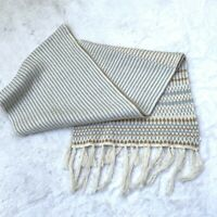 Banana Republic Women's One Size Ivory Knit Tassel Scarf Wrap Cotton
