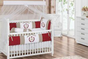 Royal Teddy Bear Theme Burgundy/White/Khaki Unisex Baby 6pc Nursery Crib Bedding