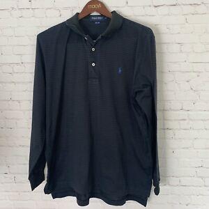 Polo Golf Shirt Long Sleeve Size XL Great Condition Men's Stripe Black