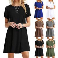Damen Sundress Kurzarm Casual T-Shirt Kleid Lose Sommerkleid Plus Size