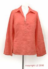 L200/08 Marks&Spencer Women's Orange Pure Irish Linen Long Sleeves Top,UK 14
