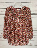 Pleione Anthropologie Women's S Small Orange Pink Cute Summer Top Blouse Shirt