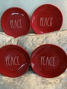 RAE DUNN PEACE DESSERT/SALAD PLATES~IN RED~SET OF 4~NEW!!