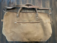 "Murval Tote Bag - 30""L x 18""H Brown Suede Zip Close w/Pocket, Adjustable Strap"
