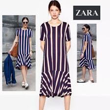 e7ef8548 NWT Sz. S ZARA TRAFALUC Striped Slip On Lightweight Knit Dress with Frill