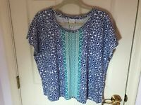 Woman's Chico's weekends plus size 3 blue multicolored cap sleeve top