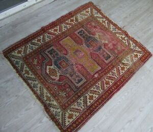 Vintage Oriental Shabby Chic Wool Rug 3x4ft Authentic Moroccan Handwoven Carpet