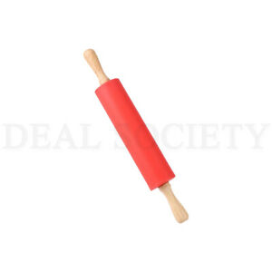 Non Stick Surface Wooden Handle Silicone Rolling Pin Kitchen Utensil ChooseColor