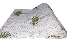 Indian Kantha Quilt Palm Tree Hand Block Print Kantha Bedding Throw Bedspread