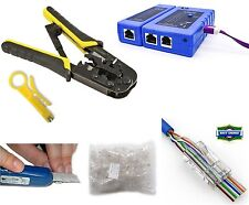 UbiGear Tester Crimper RJ45 CAT5e 50pcs Pass-though Network Cable Connector Plug