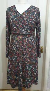 JOE BROWNS Size 14 Brown Faux Wrap Floral Print Dress- Long Sleeves, V Neck