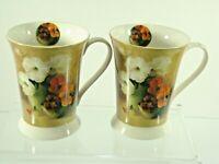 Set of 2 Pimpernel FLORAL OFFERING Ceramic Coffee Mugs Flared Rim Pedestal Base