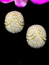 DAZZLING CINER GOLD-TONE FINISH PAVE CRYSTAL RHINESTONE OVAL STATEMENT EARRINGS