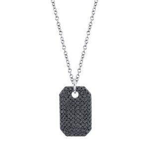 14K White Gold Black Diamond Dog Tag Pendant Necklace Natural Round Cut Womens