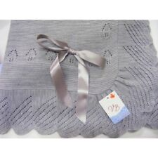 Juliana Baby Spanish Grey Romany Style Shawl Blanket Leaf Stitch & Swirl Border