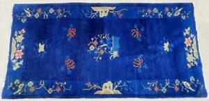Antique Art Deco Navy Blue Nichols Wool Chinese Rug Flowers Rocks Birds 6' x 3'