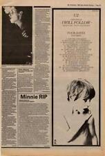 U2 I Will Follow Tour Advert NME Cutting 1980