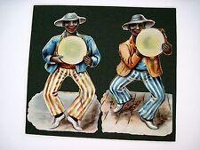 Vintage Die Cuts of Two Black Men Shacking Tambourines Dressed in Stripes  (N) *