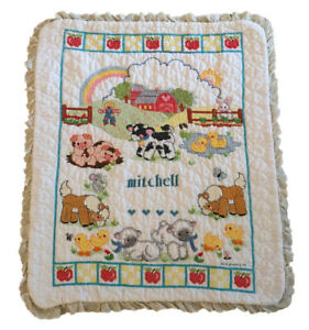 Farm animals barn country baby blanket quilt cross stitch personalized MITCHELL